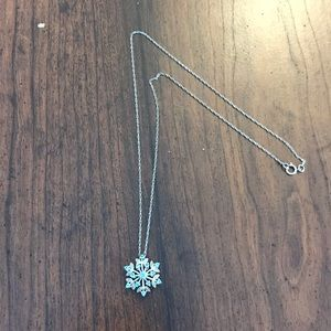 Silver and Blue Crystal Snowflake Pendant Necklace